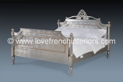 Alice French Bed in Silver Leaf