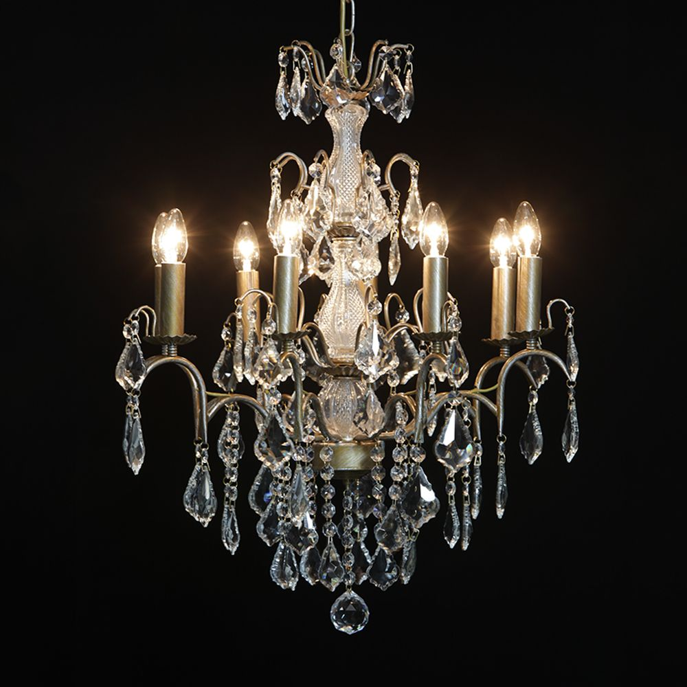 Antique french cut glass gold chandelier 8 arm aloadofball Choice Image