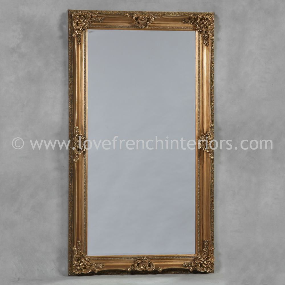 Antique gold large french mirror for Big gold mirror