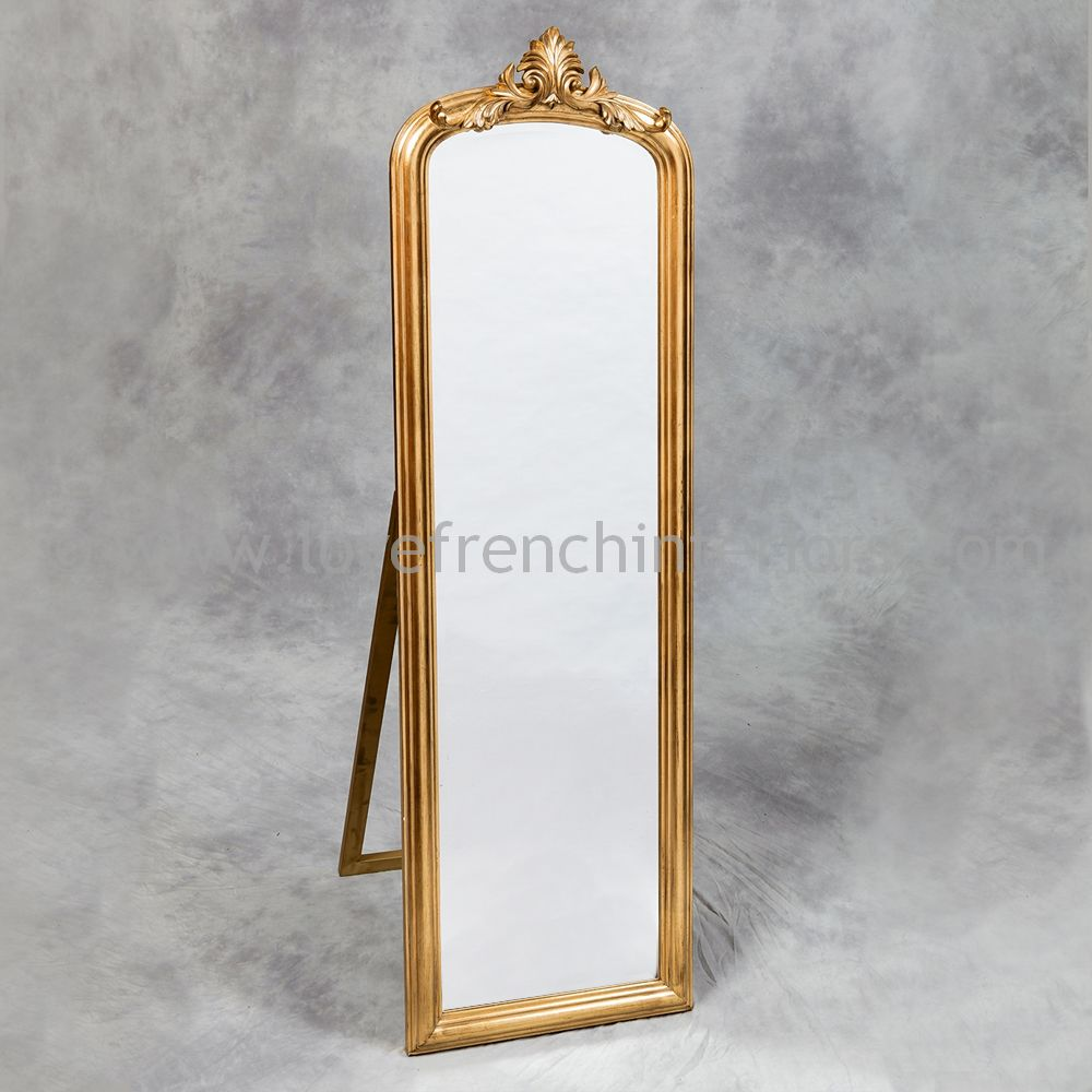 Antique gold tall slim dressing mirror for Tall gold mirror