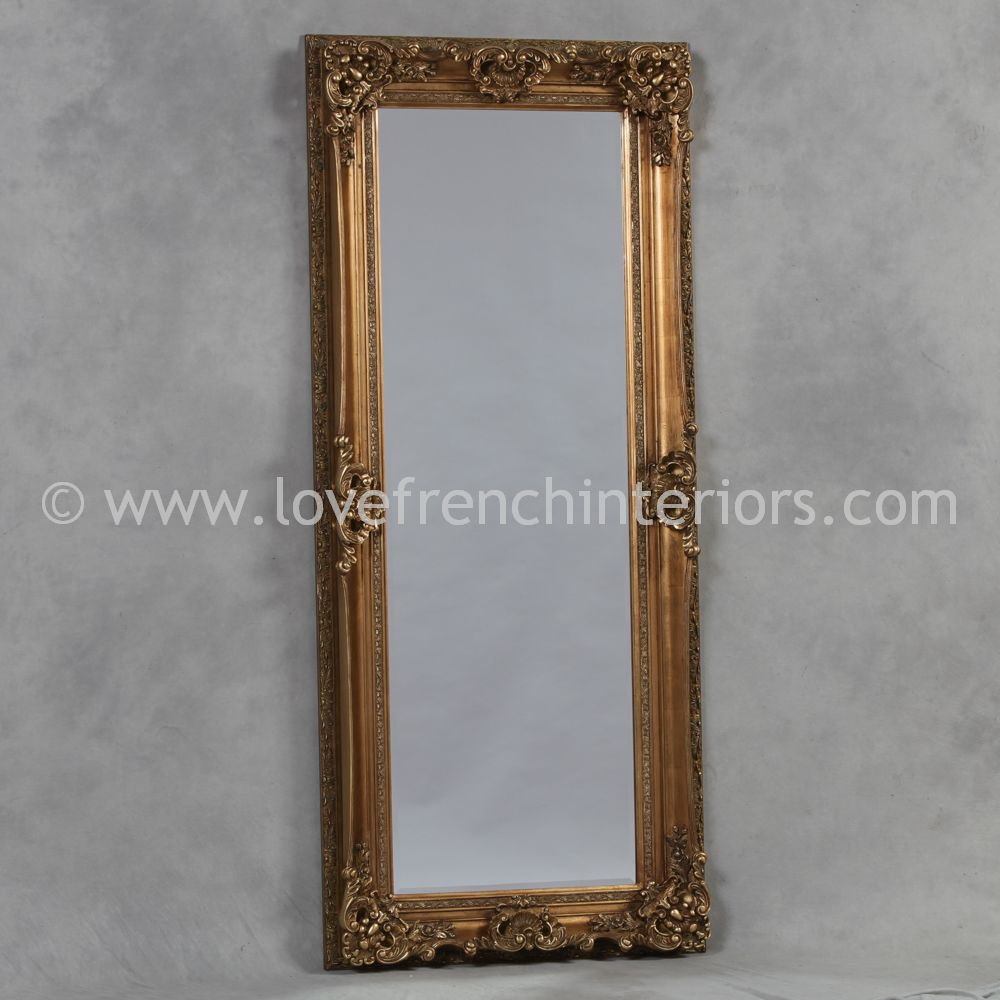 Antique gold tall slim mirror for Tall gold mirror
