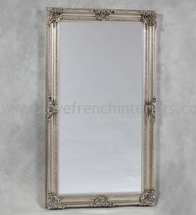 Antique silver classic framed extra large mirror for Large silver mirror
