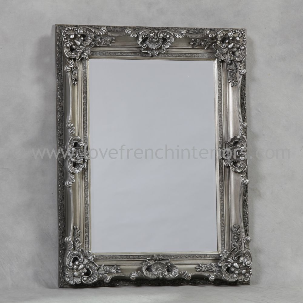Antique silver french mirror for Antique french mirror
