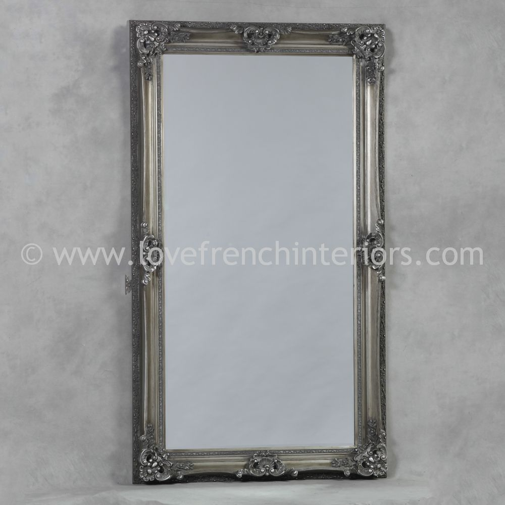 Antique silver large french mirror for French mirror