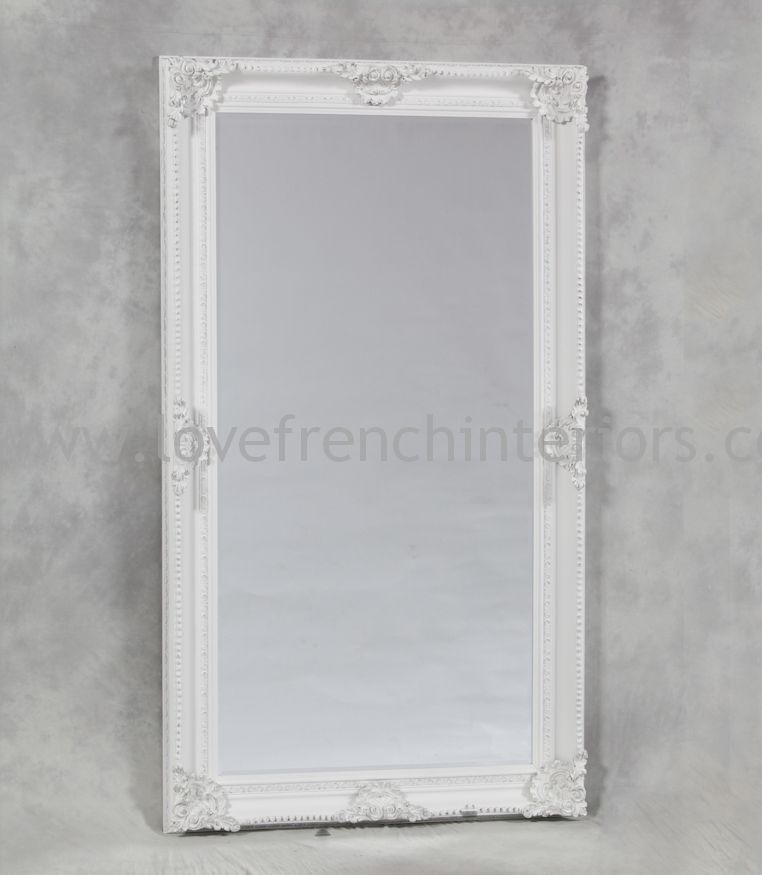 Antique white classic framed extra large mirror for White framed mirror