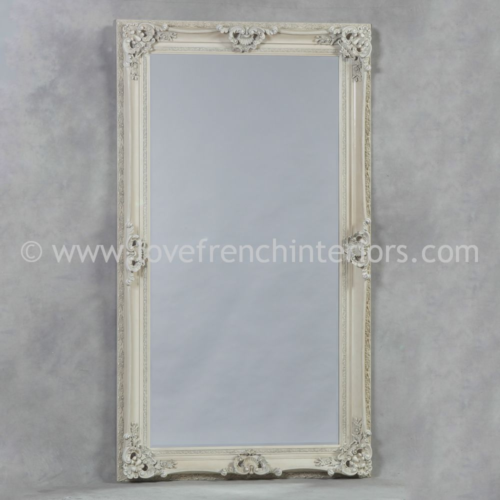 Antique White Large French Mirror