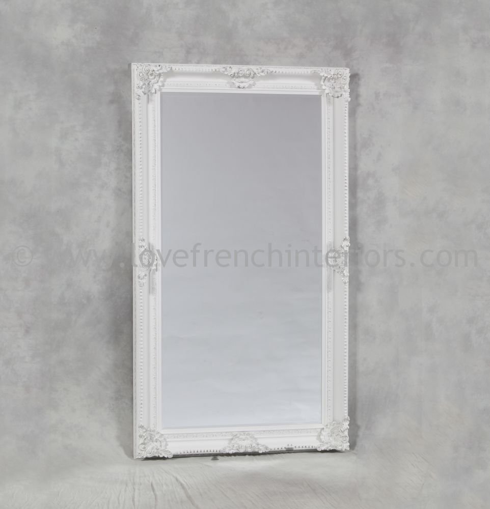 Antique white rectangular classic framed large mirror for Large white framed mirror