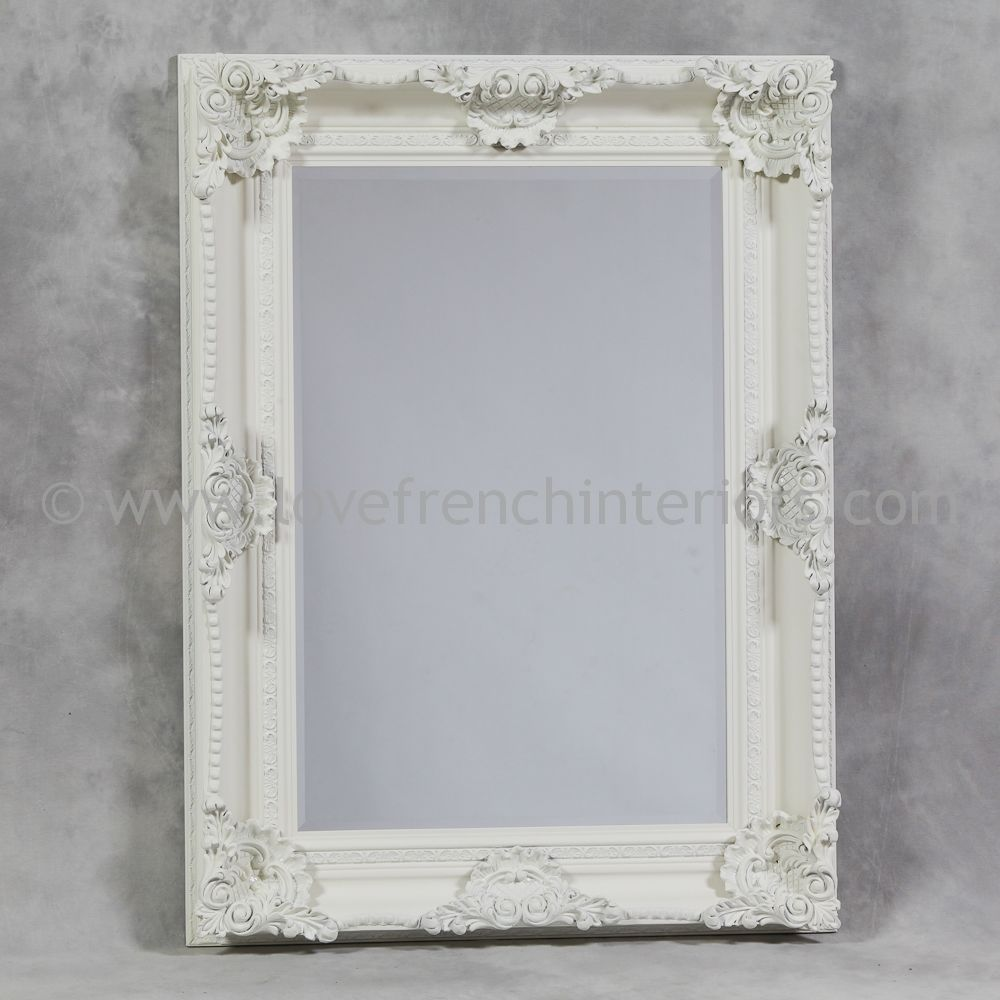 Antique white rectangular classic framed mirror for White framed mirror