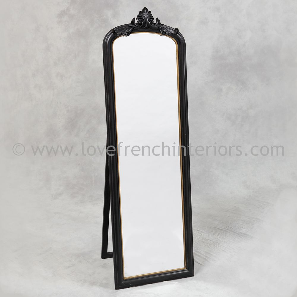 Black and gold tall slim dressing mirror for Tall gold mirror