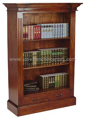 Bookcase with Fluted Front and Two Drawers