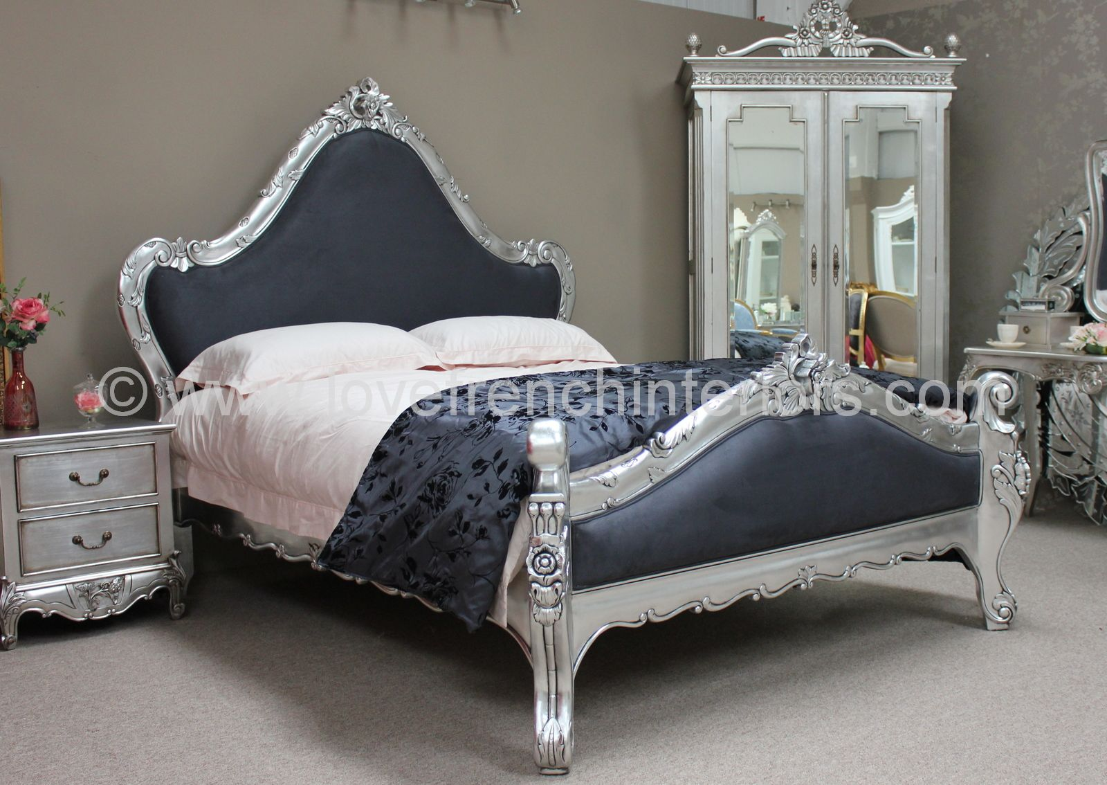 catherine french bed in silver leaf. Black Bedroom Furniture Sets. Home Design Ideas