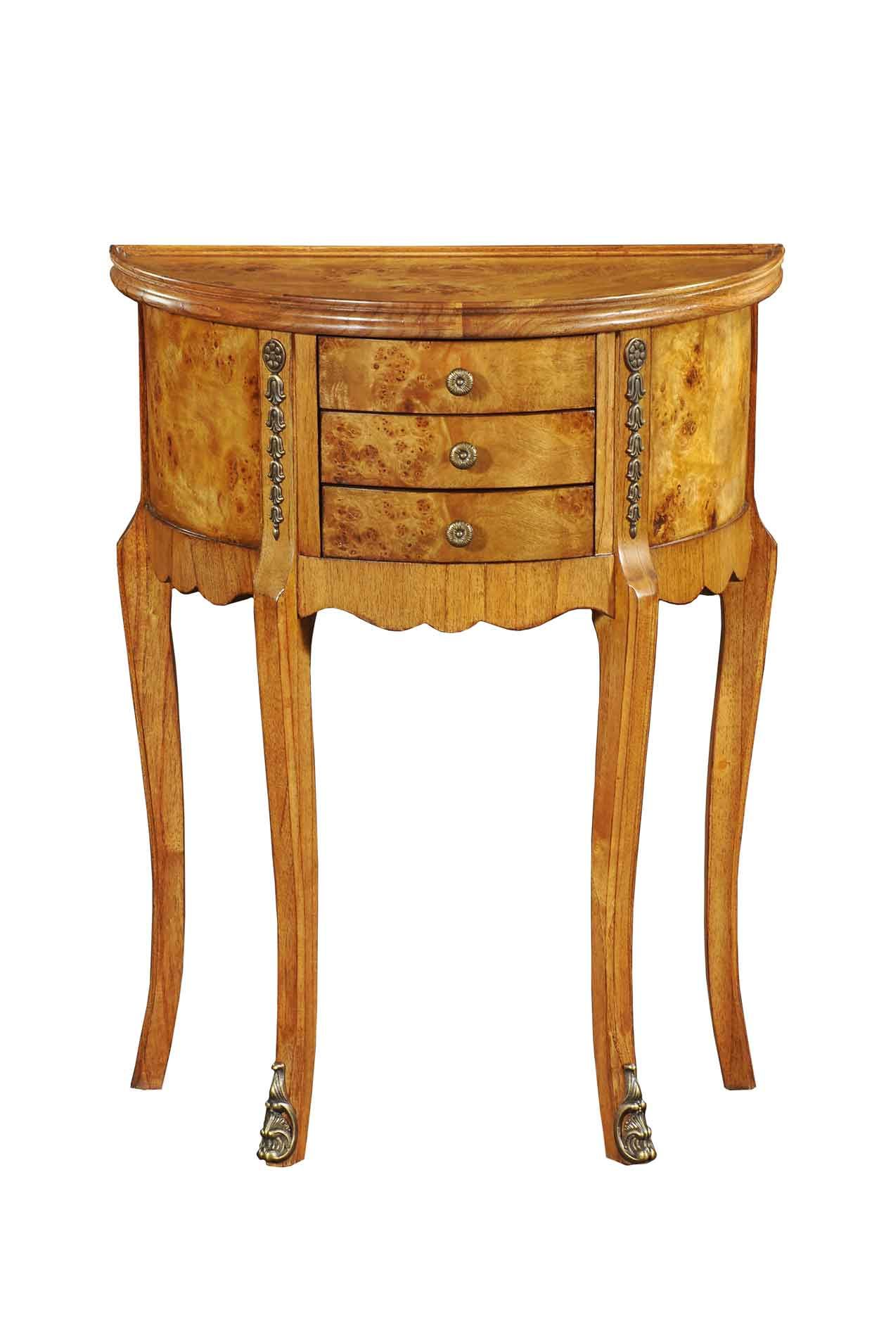 demi lune table with 3 drawers in burr walnut. Black Bedroom Furniture Sets. Home Design Ideas