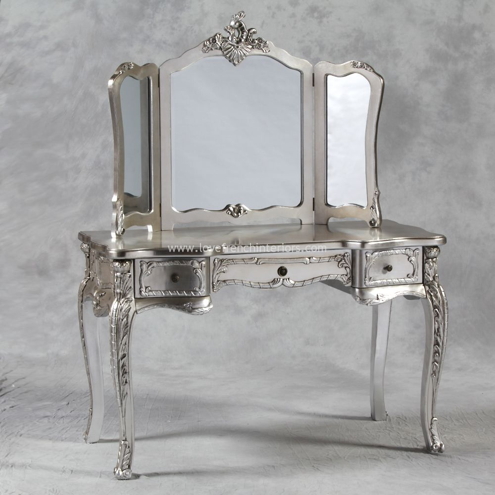 Dressing Table and Triple Mirror in Antique Silver : dressing table and triple mirror in antique silver 902 p from www.lovefrenchinteriors.com size 1000 x 1000 jpeg 109kB