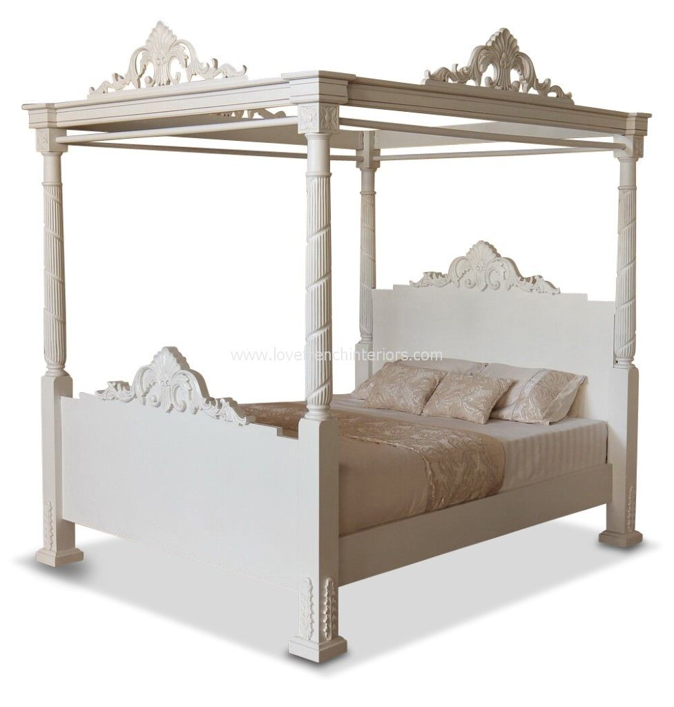 Four poster bed in antique white for 4 poster white bed