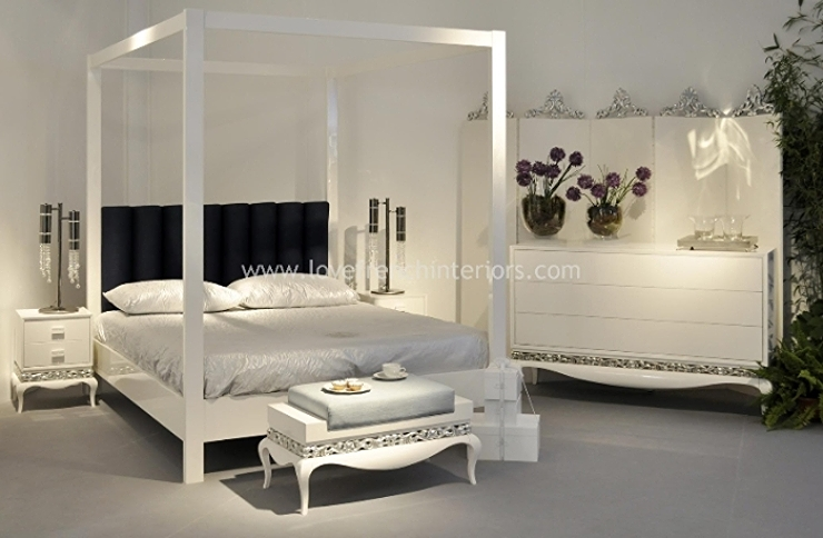 Four poster bed in glossy white for White four post bed