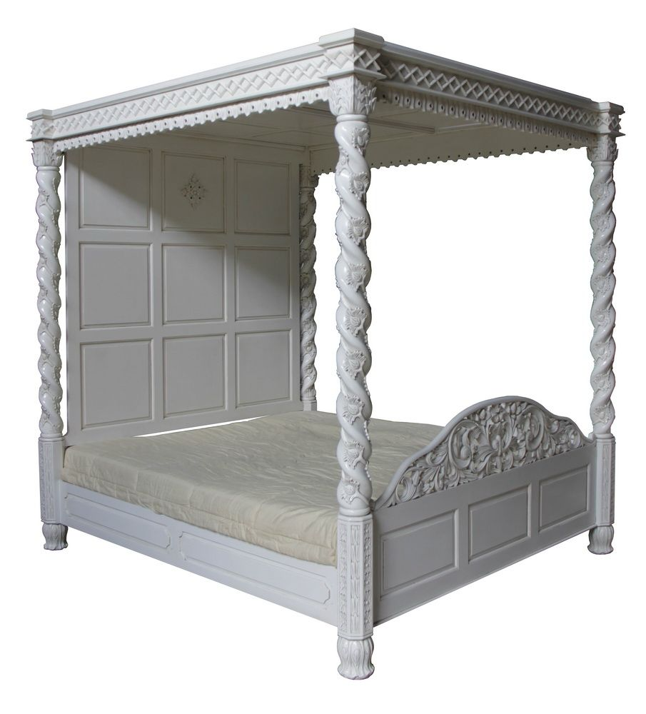 four poster canopy floral bed in antique white. Black Bedroom Furniture Sets. Home Design Ideas