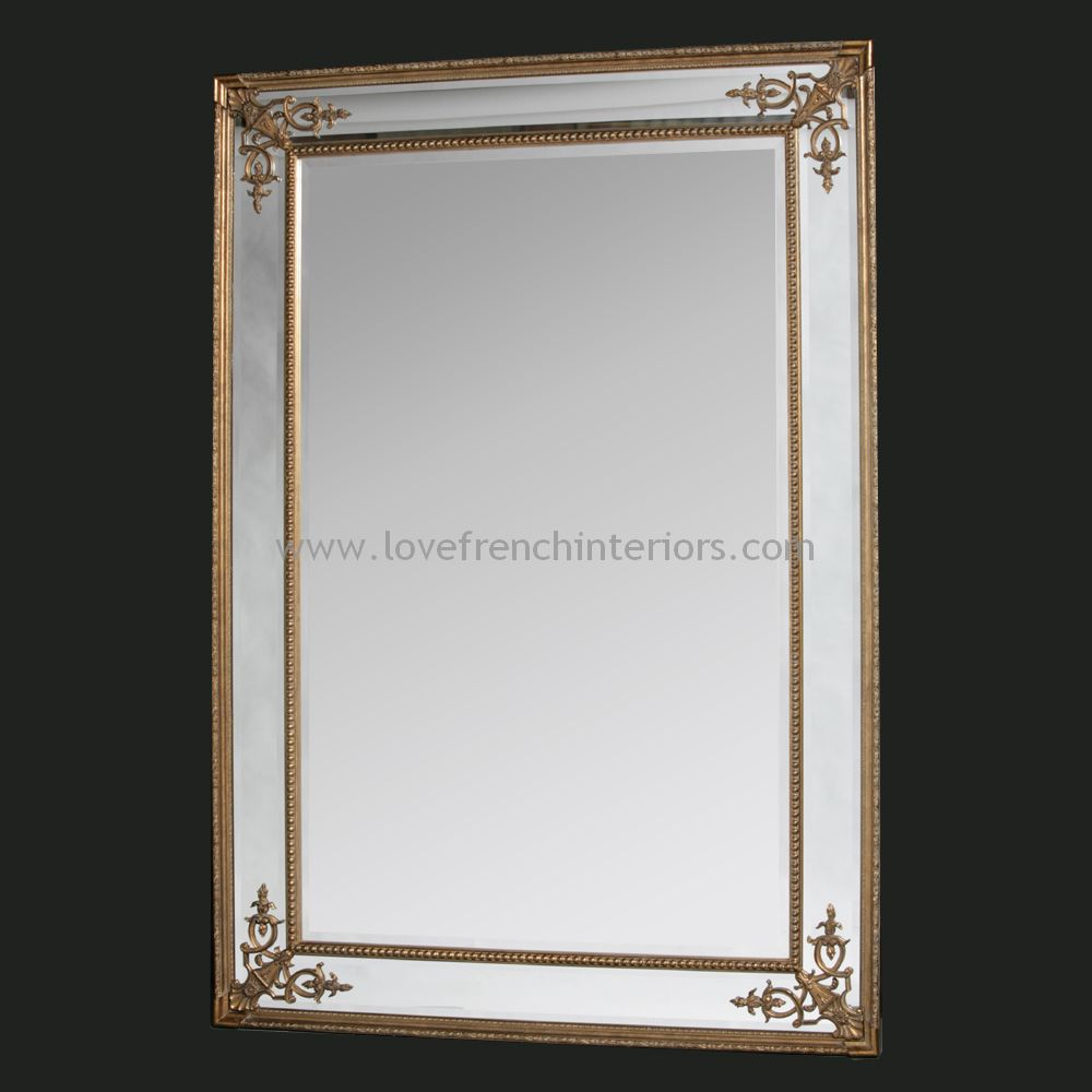 Gold french large mirror for Big gold mirror