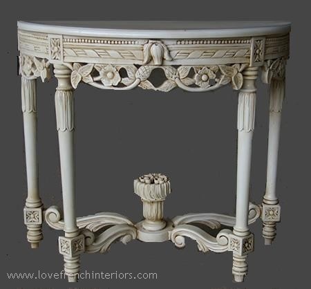 Louis Console / Hall Table in Antique White