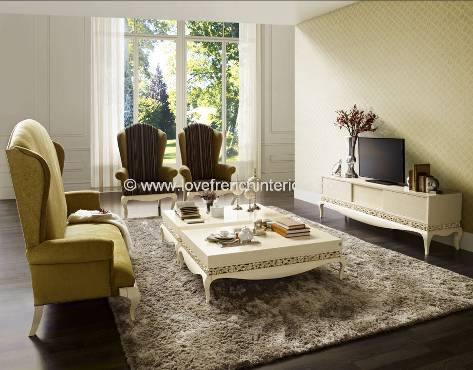 Luxus Living Room Collection in Cream and Gold Leaf