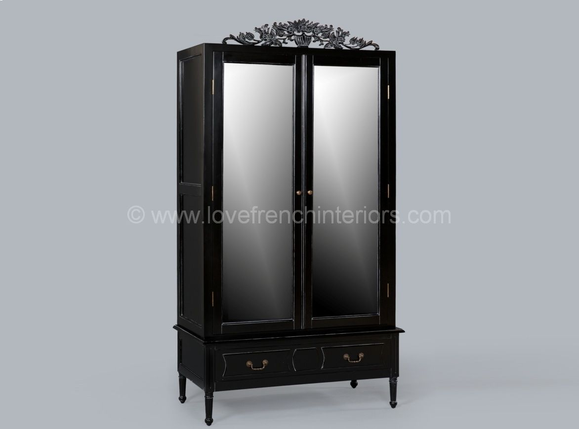 mirrored armoire in noir black. Black Bedroom Furniture Sets. Home Design Ideas