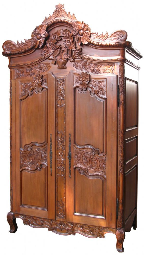 Rococo crested large armoire for French reproduction bedroom furniture
