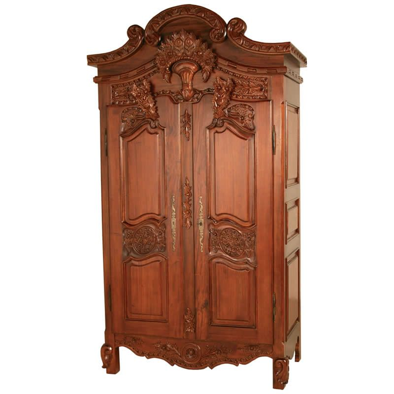 rococo french armoire wardrobe in mahogany. Black Bedroom Furniture Sets. Home Design Ideas