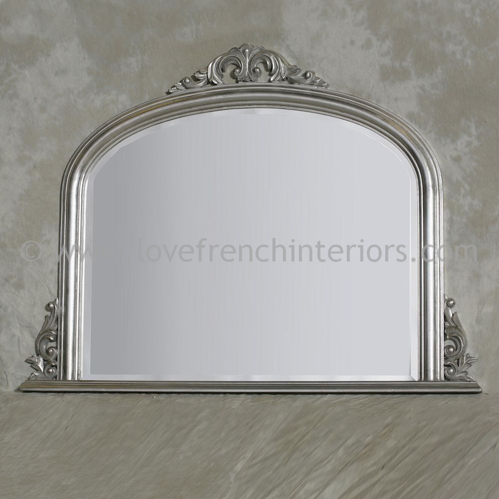 Silver overmantel mirror for Mantle mirror