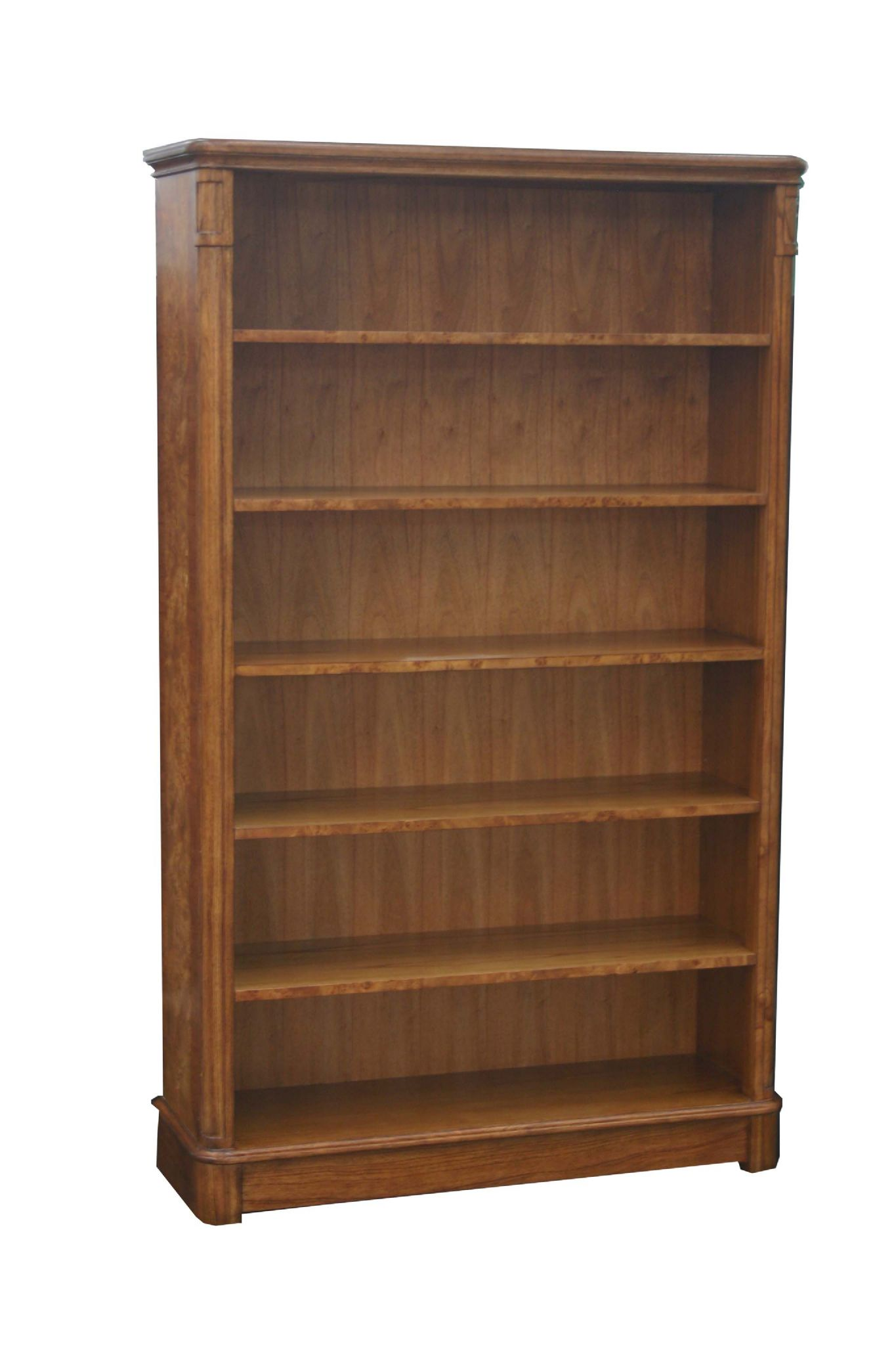 Tall and wide bookcase in burr walnut