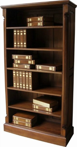 Tall and wide bookcase in mahogany