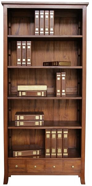 Tall And Wide Bookcases ~ Tall and wide bookcase with four drawers in mahogany