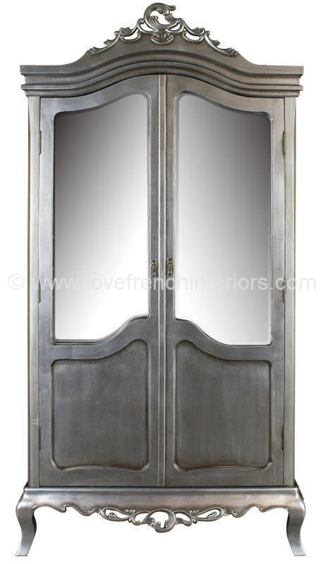 Tamsin Silver Mirrored French Wardrobe