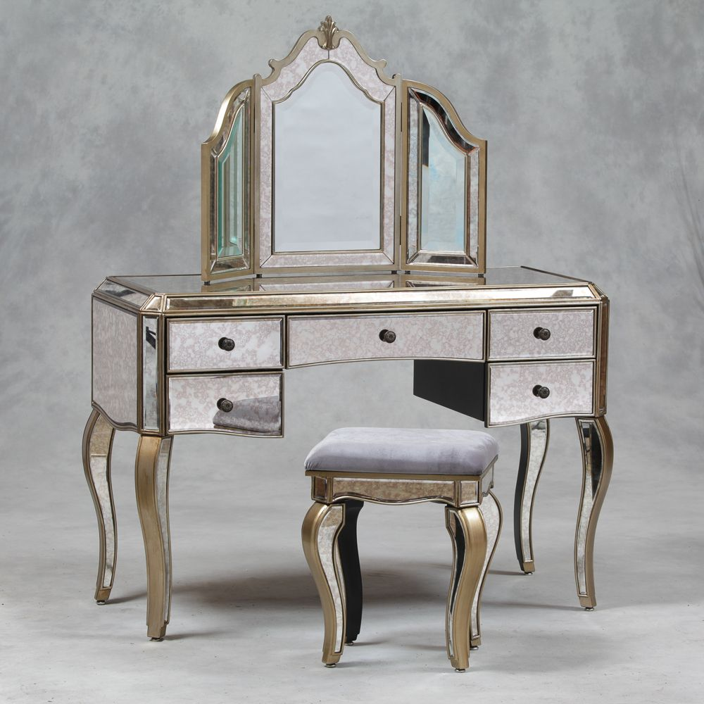 Venetian Antique Mirrored Silver Edged Dressing Table
