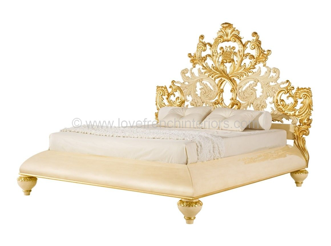 Venezia bed with carved baroque headboard for French baroque bed
