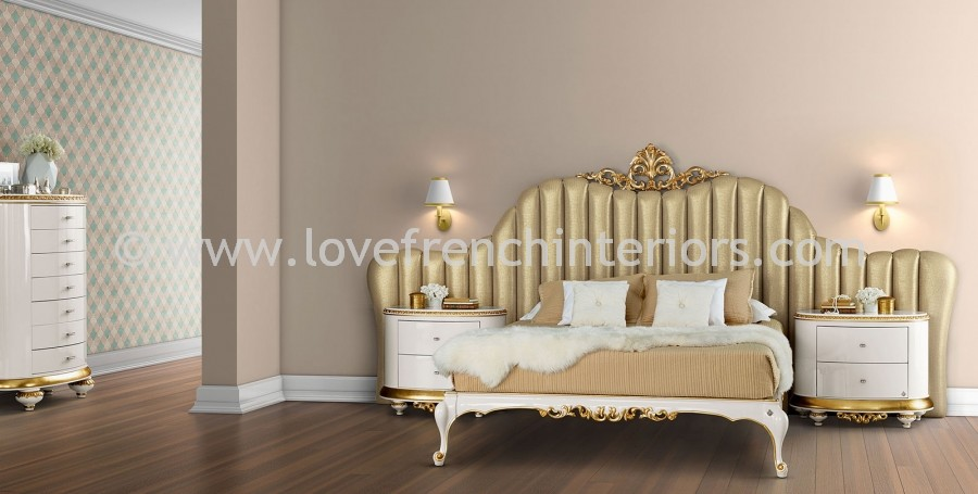venezia bedroom collection in white and gold leaf