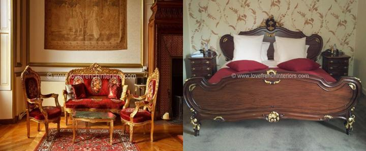 french gold chairs and french rococo bed