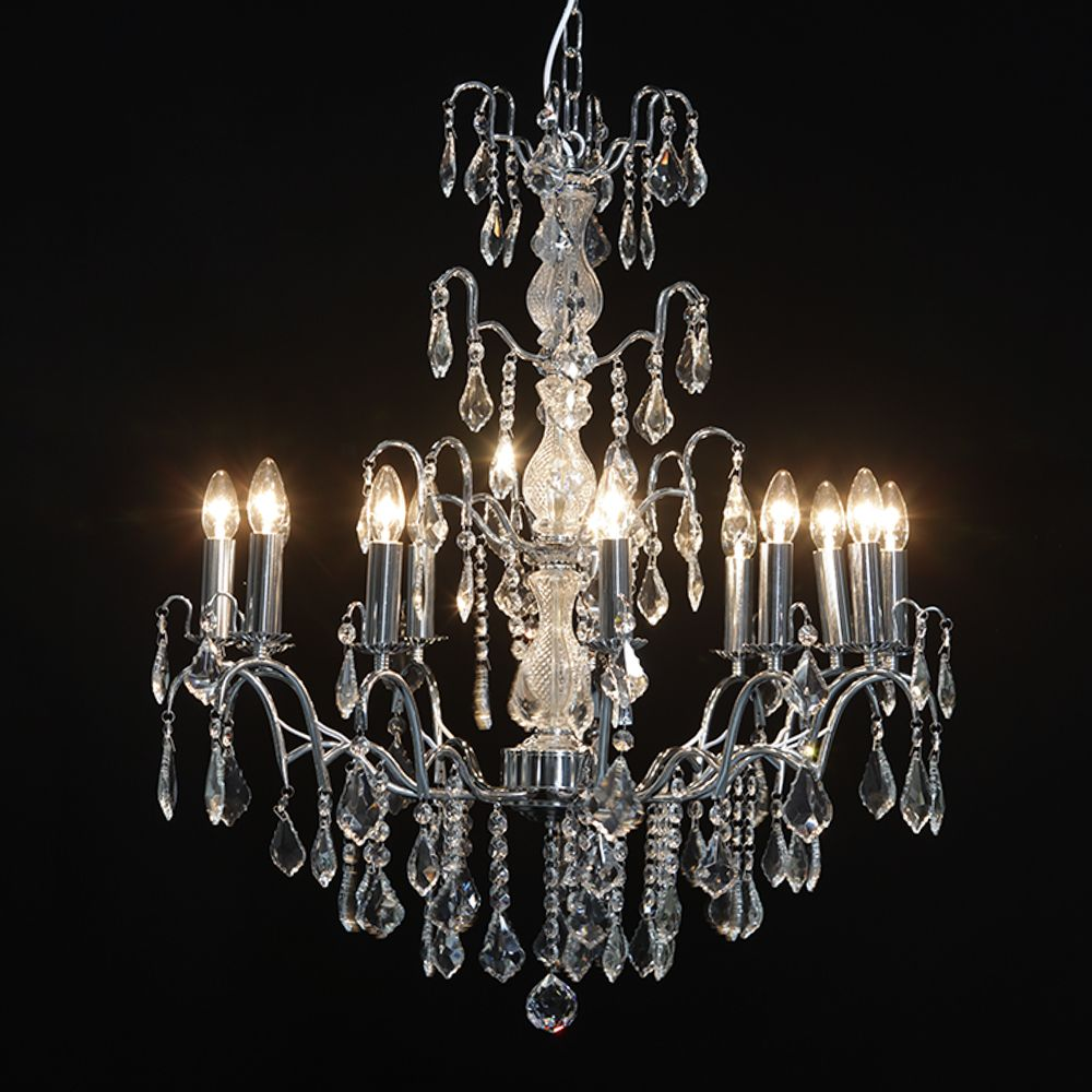 Antique French Cut Glass Chrome Chandelier 12 arms