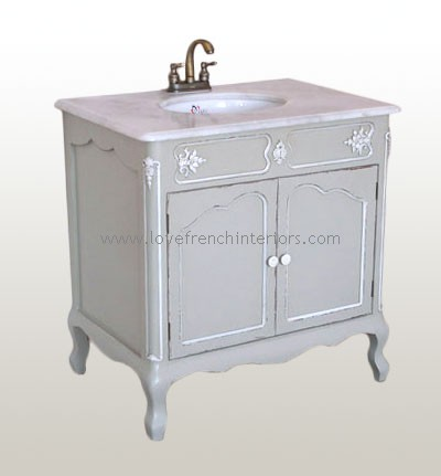 Antique French Light Grey Sink Vanity Unit