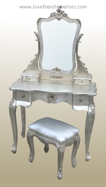 Dressing Table With Mirror And Stool: Antique Silver French Dressing Table Mirror And Stool