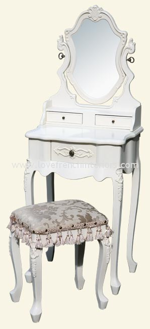 Dressing Table With Mirror And Stool: Antique White French Dressing Table Mirror And Stool 4