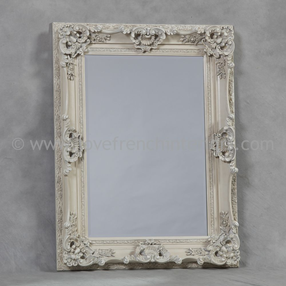 Antique White French Mirror