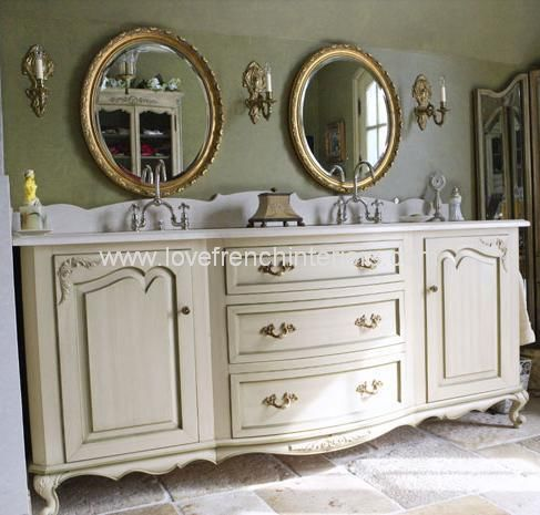 Bespoke Large Double Bowl Sink Vanity Unit and Two Mirrors