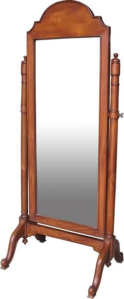 Cheval Arch Top Mirror with Mahogany Frame