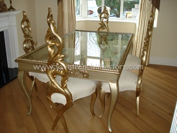 Designer Glass and Mahogany Table