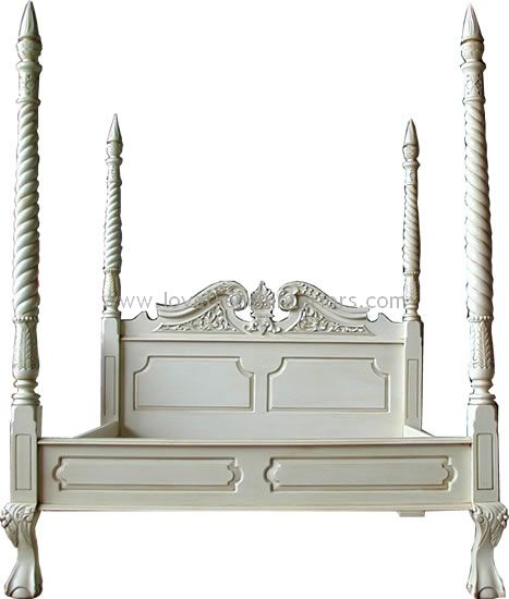 Four Poster With Barley Twist Posts In Antique White 1068 P Jpg