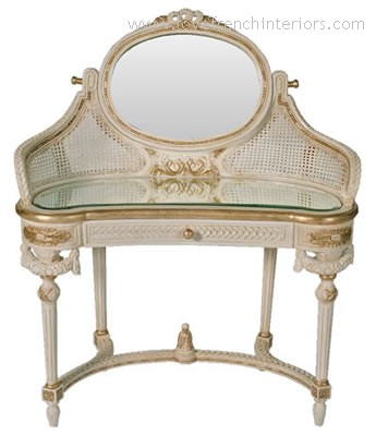 French Bespoke Dressing Table with Mirror and Glass Top