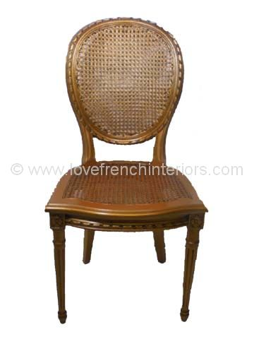 French Oval Rattan Back Dining Chair