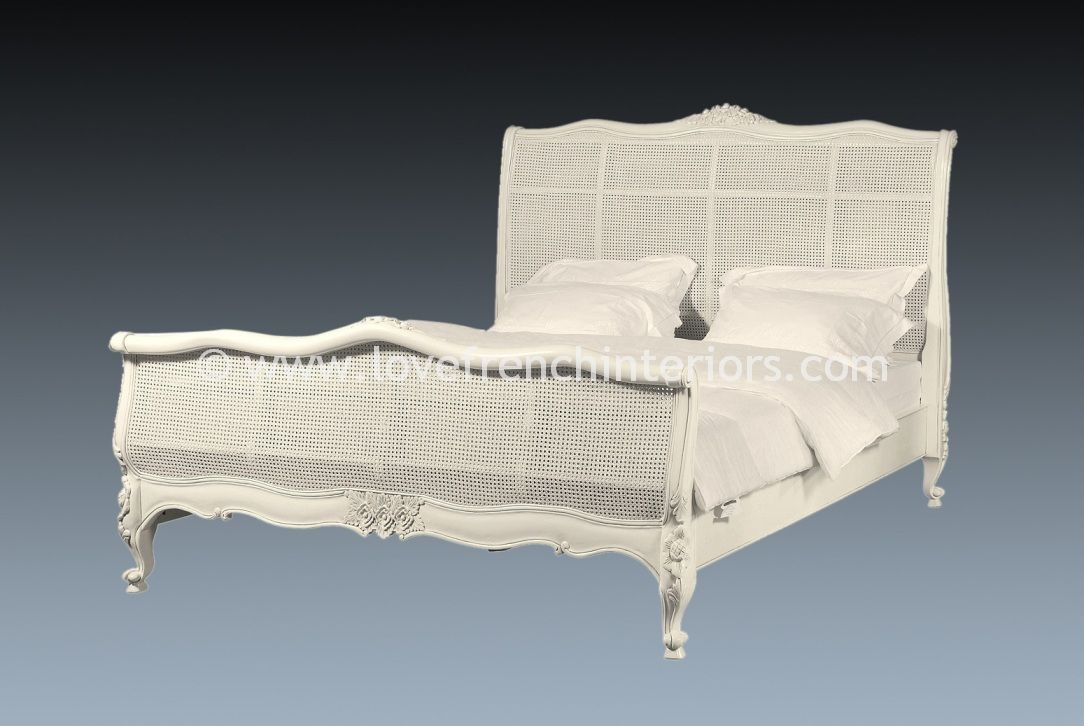 French Rattan Bed In Antique White