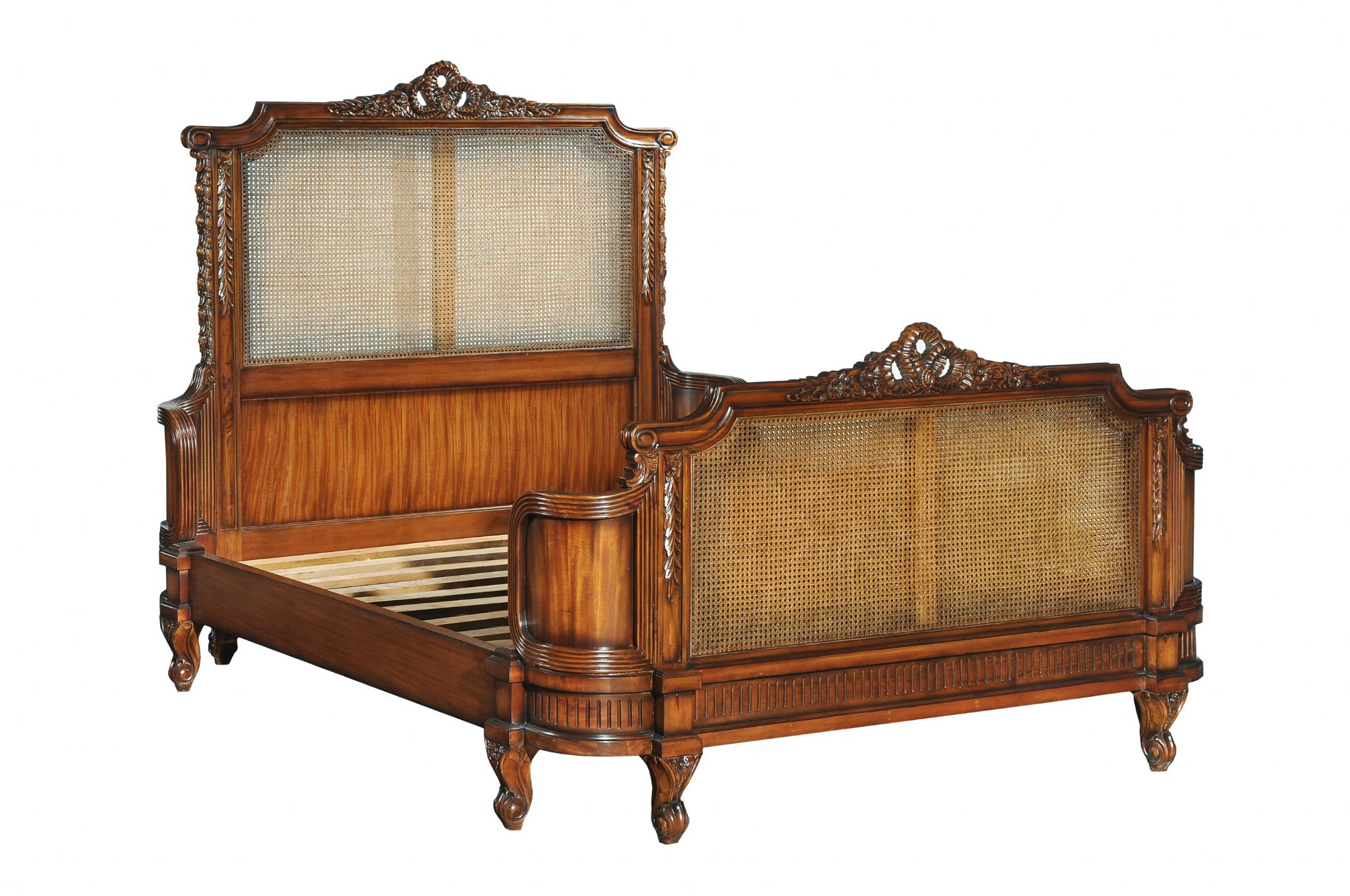 French Rattan Bed In Mahogany