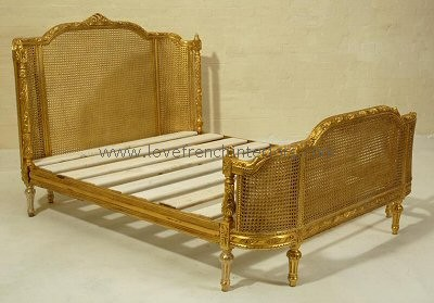 French Rattan Bed with Curved Head and Footboard