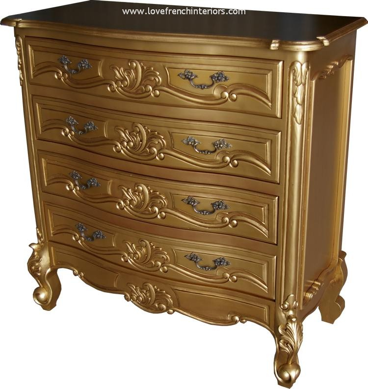 Louis 4 Drawer French Chest in Antique Gold